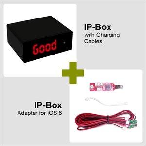 IP-BOX con cables de carga y adaptador para iOS 8